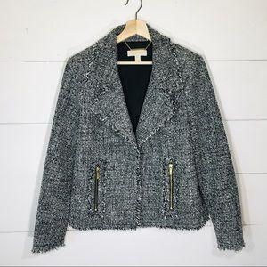 MICHAEL KORS Black Tweed Open Front Moto Jacket 14